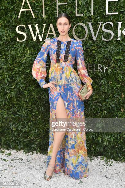 Anna Cleveland attends the Atelier Swarovski Cocktail Of The New Penelope Cruz Fine Jewelry Collection as part of Paris Fashion Week on July 2 2018...
