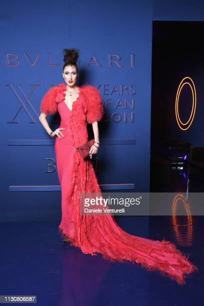 Anna Cleveland attends the Bvlgari BZERO1 XX Anniversary Global Launch Event at Auditorium Parco Della Musica on February 19 2019 in Rome Italy