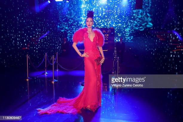 Anna Cleveland attends the Bvlgari BZERO1 XX Anniversary Global Launch Event at Auditorium Parco Della Musica on February 19 2019 in Rome Italy