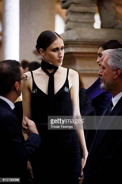 Anna Cleveland attends the dinner honouring Bottega Veneta's Tomas Maier 15th anniversary as Creative Director during Milan Fashion Week...