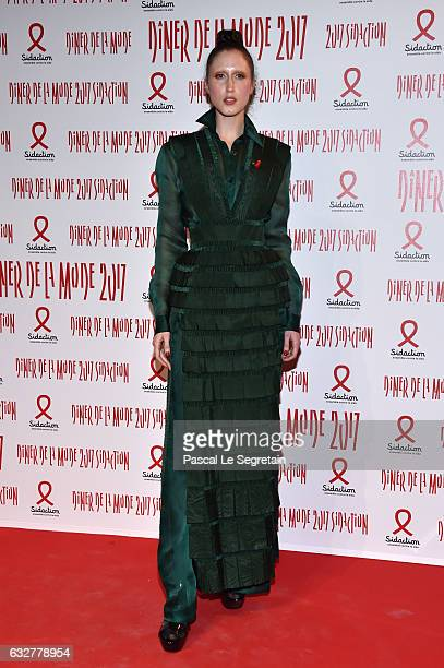 Anna Cleveland attends the Sidaction Gala Dinner 2017 Haute Couture Spring Summer 2017 show as part of Paris Fashion Week on January 26 2017 in Paris...