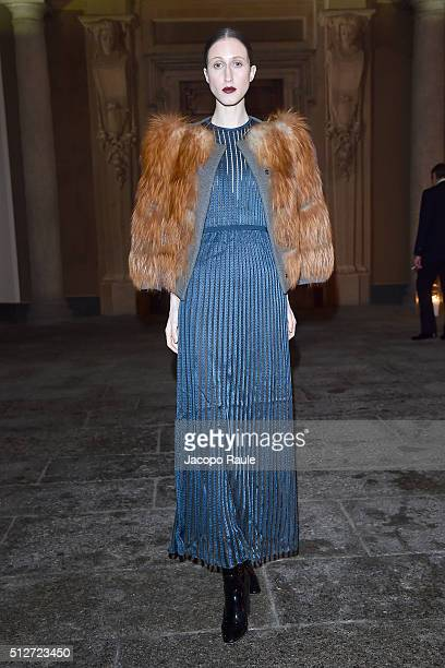 Anna Cleveland attends Vogue Cocktail Party honoring photographer Mario Testino on February 27 2016 in Milan Italy