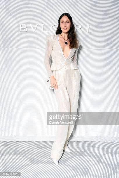 Anna Cleveland attens the Bulgari FW 20 Leather Goods and Accessories Collection Party on February 21, 2020 in Milan, Italy.