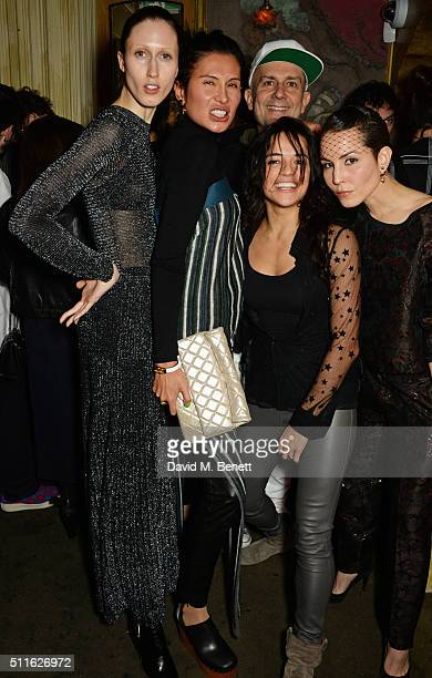 Anna Cleveland Goga Ashkenazi Marc Quinn Michelle Rodriguez and Noomi Rapace attend the Mulberry LFW Autumn/Winter 2016 Show After Party at The Box...