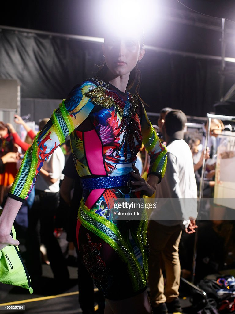 Anna Cleveland is seen backstage ahead of the DSquared2 show during Milan Fashion Week Spring/Summer 2016 on September 26, 2015 in Milan, Italy.