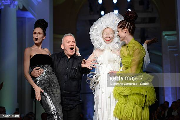 Anna Cleveland, Jean Paul Gaultier, Soo Joo Park and Coco Rocha walks the runway during the Jean-Paul Gaultier Haute Couture Fall/Winter 2016-2017...