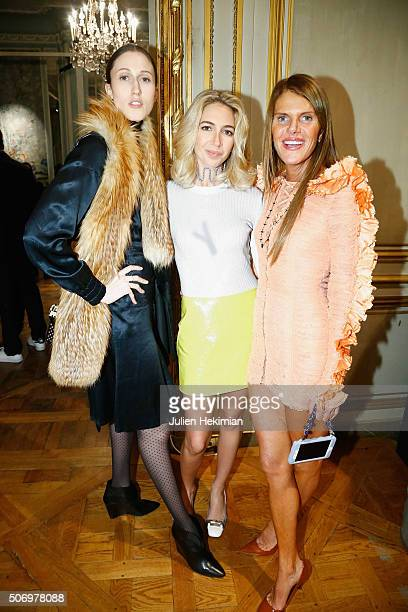 Anna Cleveland Jewelry Designer Sabine Getty and Anna Dello Russo attend the 'Memphis' Fine jewelry collection launch as part of Paris Fashion Week...