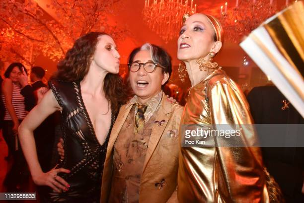 Anna Cleveland Kenzo Takada and a guest attend the Kenzo Takada Birthday Party as part of the Paris Fashion Week Womenswear Fall/Winter 2019/2020 on...