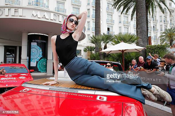 Anna Cleveland on the Croisette during the 68th annual Cannes Film Festival on May 19 2015 in Cannes France