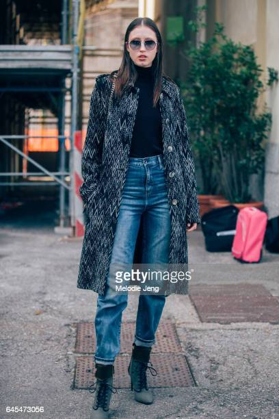 Anna Cleveland outside Missoni during Milan Fashion Week Fall/Winter 2017/18 on February 25 2017 in Milan Italy