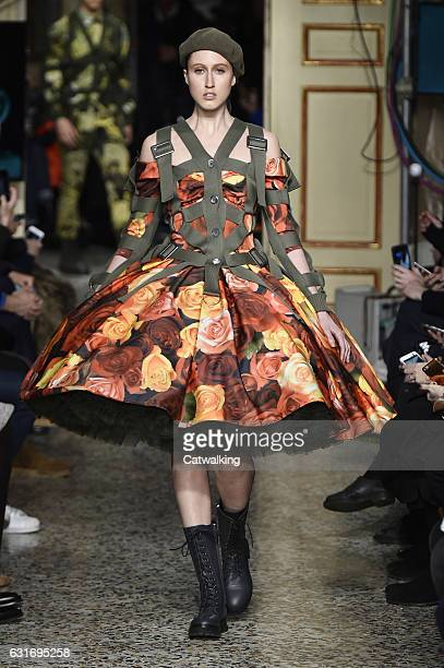 Anna Cleveland walks the runway at the Moschino Autumn Winter 2017 fashion show during Milan Menswear Fashion Week on January 14 2017 in Milan Italy