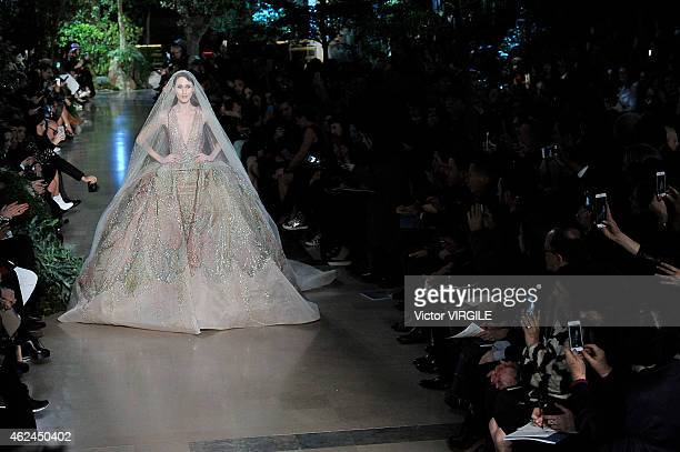 Anna Cleveland walks the runway during the Elie Saab show as part of Paris Fashion Week Haute Couture Spring/Summer 2015 on January 28, 2015 in...
