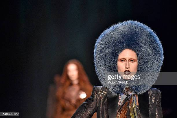 Anna Cleveland walks the runway during the Jean Paul Gaultier Haute Couture Fall/Winter 2016-2017 show as part of Paris Fashion Week on July 6, 2016...