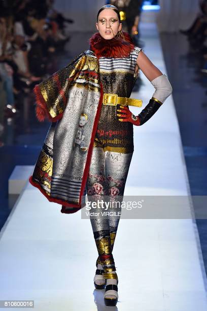 Anna Cleveland walks the runway during the Jean Paul Gaultier Haute Couture Fall/Winter 20172018 show as part of Haute Couture Paris Fashion Week on...
