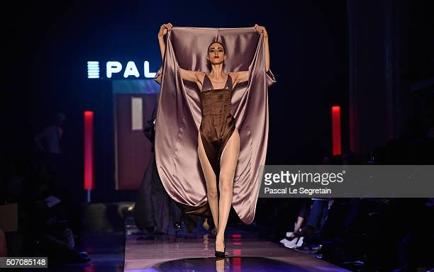 Anna Cleveland walks the runway during the Jean Paul Gaultier Spring Summer 2016 show as part of Paris Fashion Week on January 27 2016 in Paris France
