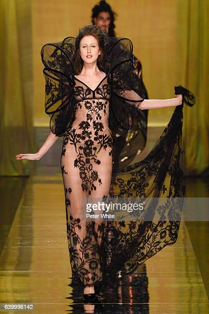 Anna Cleveland walks the runway during the Jean Paul Gaultier Spring Summer 2017 show as part of Paris Fashion Week on January 25 2017 in Paris France