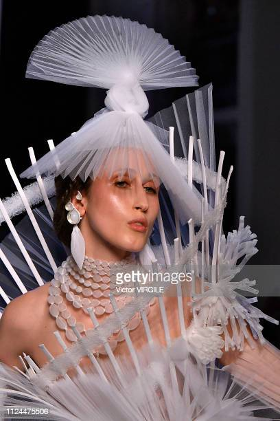 Anna Cleveland walks the runway during the JeanPaul Gaultier Haute Couture Spring Summer 2019 fashion show as part of Paris Fashion Week on January...