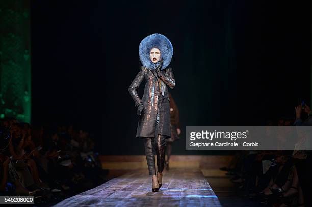 Anna Cleveland walks the runway during the JeanPaul Gaultier Haute Couture Fall/Winter 20162017 show as part of Paris Fashion Week on July 6 2016 in...