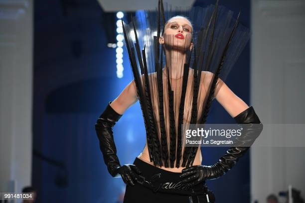 Anna Cleveland walks the runway during the JeanPaul Gaultier Haute Couture Fall Winter 2018/2019 show as part of Paris Fashion Week on July 4 2018 in...
