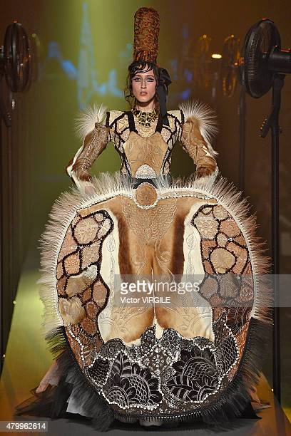 Anna Cleveland walks the runway during the JeanPaul Gaultier show as part of Paris Fashion Week Haute Couture Fall/Winter 2015/2016 on July 8 2015 in...