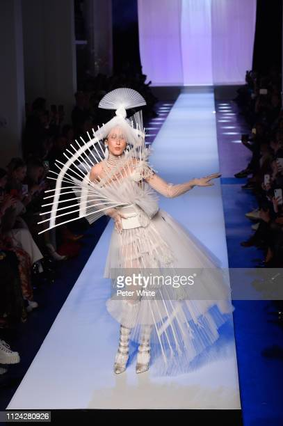 Anna Cleveland walks the runway during the JeanPaul Gaultier Spring Summer 2019 show as part of Paris Fashion Week on January 23 2019 in Paris France