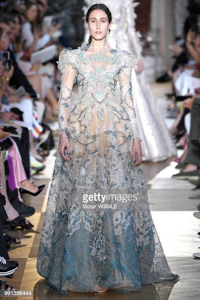 Anna Cleveland walks the runway during the Schiaparelli Haute Couture Fall Winter 2018/2019 fashion show as part of Paris Fashion Week on July 2 2018...