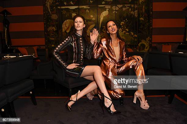 Anna Cleveland zandra rhodes and Pat Cleveland attend the launch of model Pat Cleveland's new book Walking With The Muses at Blakes Below on...