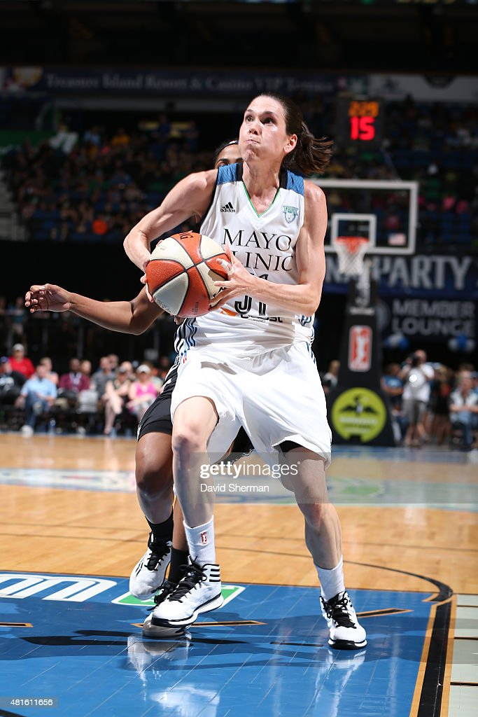Anna Cruz #51 of the Minnesota Lynx goes to the basket against the San Antonio Stars on July 12, 2015 at Target Center in Minneapolis, Minnesota.