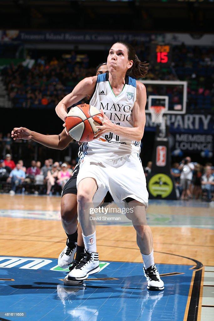 Anna Cruz #51 of the Minnesota Lynx goes to the basket against the San Antonio Stars on July 12, 2015 at Target Center in Minneapolis, Minnesota.
