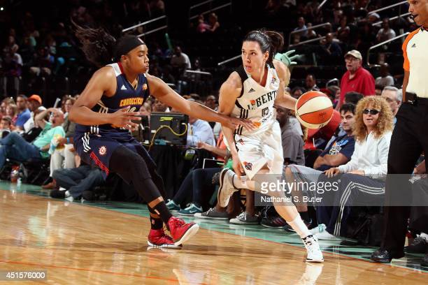 Anna Cruz of the New York Liberty drives against the Connecticut Sun at Madison Square Garden in New York City on June 29 2014 NOTE TO USER User...