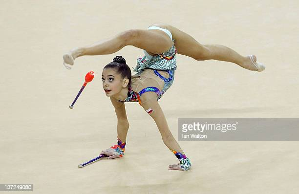 Anna Czarniecka of Poland in action in the Individual AllAround during the FIG Rhythmic Gymnastics Olympic Qualification at North Greenwich Arena on...