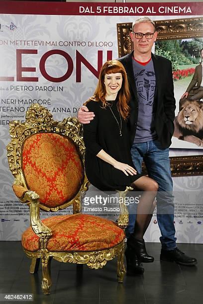Anna Dalton and director Pietro Parolin attend the 'Leoni' photocall at Cinema Barberini on January 29 2015 in Rome Italy