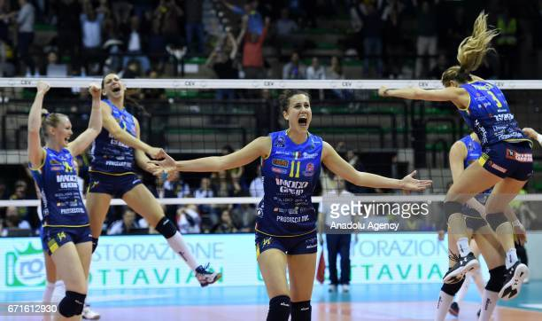 Anna Danesi of Imoco Volley Conegliano celebrates the victory during the Volleyball European Champions League Women Final Four between Dinamo Moscow...