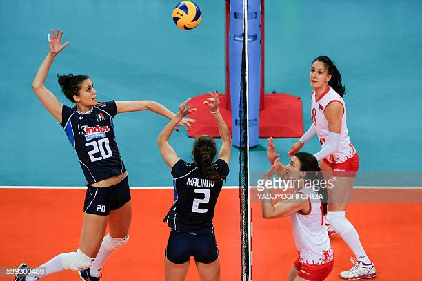 Anna Danesi of Italia prepares to spile the ball agasint Serbia during their FIVB Women's volleyball world grand prix 2016 at Carioca Arena 1 of the...