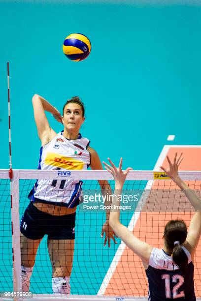 Anna Danesi of Italy attacks during the FIVB Volleyball Nations League Hong Kong match between China and Italy on May 31 2018 in Hong Kong Hong Kong