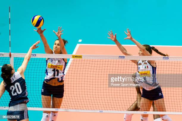 Anna Danesi of Italy blocks Fang Duan of China during the FIVB Volleyball Nations League Hong Kong match between China and Italy on May 31 2018 in...