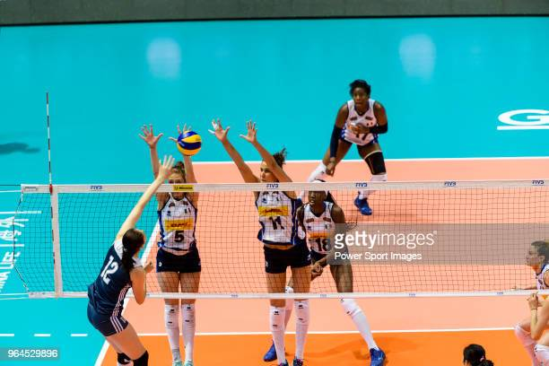 Anna Danesi of Italy blocks Yingying Li of China during the FIVB Volleyball Nations League Hong Kong match between China and Italy on May 31 2018 in...