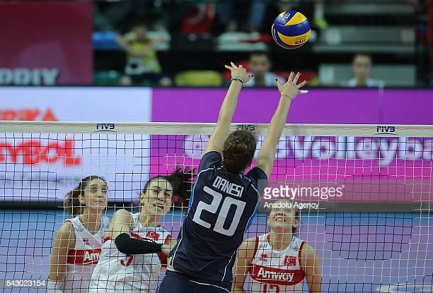 Anna Danesi of Italy in action during the 2016 FIVB Volleyball World Grand Prix Women's match between Turkey and Italy at the TVF Baskent Sports Hall...