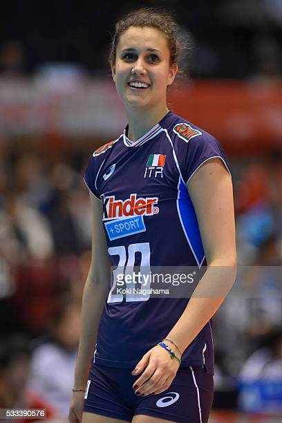 Anna Danesi of Italy looks on during the Women's World Olympic Qualification game between Italy and Kazakhstan at Tokyo Metropolitan Gymnasium on May...