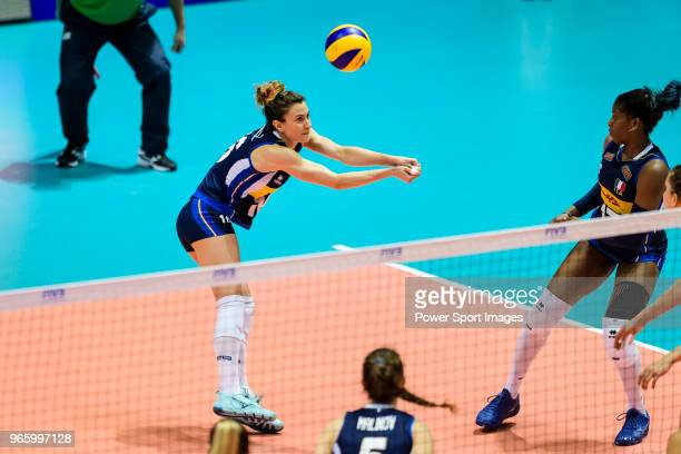 Anna Danesi of Italy passes the ball during the match between Argentina and Italy on May 30 2018 in Hong Kong Hong Kong