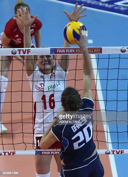 Anna Danesi of Italy vies with Aleksandra Jagielo of Poland during their European Olympic Qualification Tournament Rio 2016 match Italy vs Poland in...