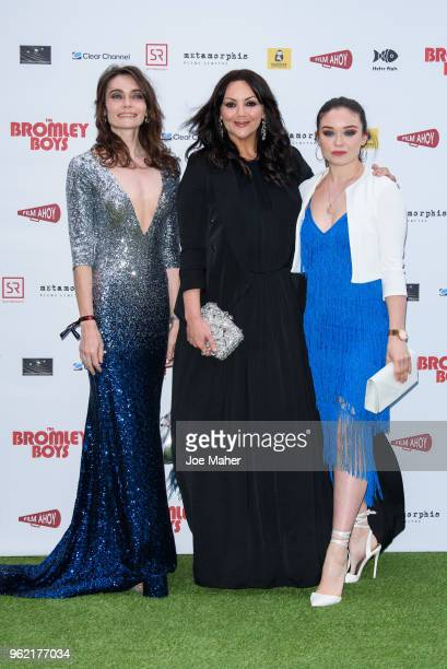 Anna Danshina, Martine McCutcheon and Savannah Baker attend 'The Bromley Boys' UK premiere held in The Great Room at Wembley Stadium on May 24, 2018...