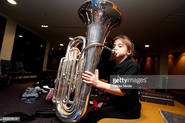 Anna de Boer from Lindfield East Primary School plays the tuba at the Schools' Band Festival 5 August 2006 SHD Picture by DANIELLE SMITH
