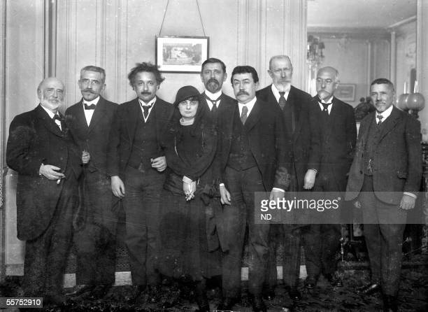 Anna de Noailles French poetess surrounded with Albert Einstein American physicist of German origin Paul Painleve French mathematician and Paul...
