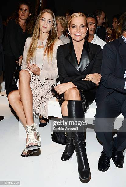 Anna De Pahlen and Simona Ventura attend the Salvatore Ferragamo Spring/Summer 2013 fashion show as part of Milan Womenswear Fashion Week at Palazzo...