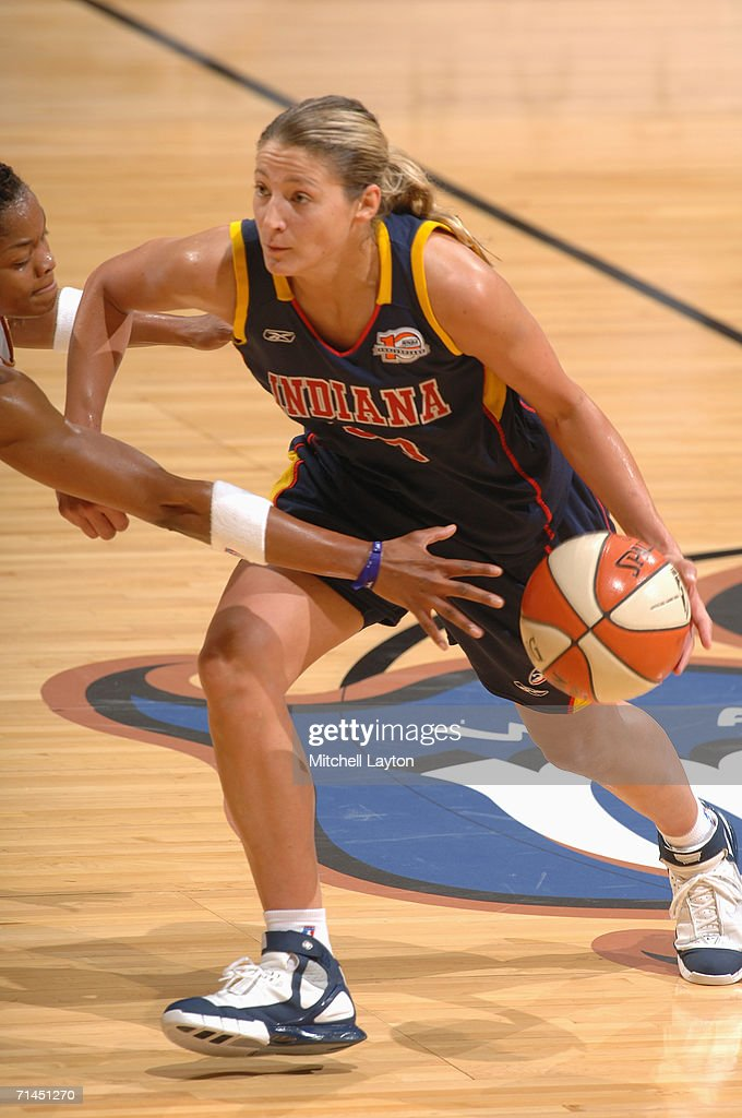 Anna DeForge #30 of the Indiana Fever drives during a game against the Washington Mystics at MCI Center on June 27, 2006 in Washington, D.C. The Fever won 74-67.