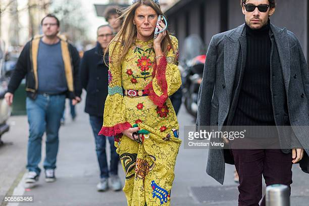 Anna dell Russo wearing a Gucci Cruise 2016 dress outside Etro during Milan Men's Fashion Week Fall/Winter 2016/17 on January 18 in Milan Italy