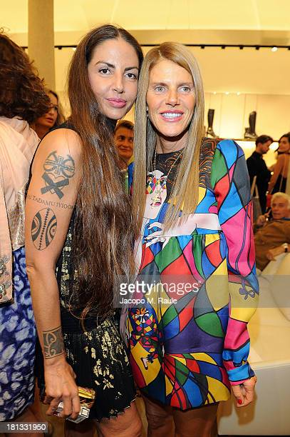Anna Dello Russo and Benedetta Mazzini attend the Salvatore Ferragamo Boutique Opening as part of Milan Fashion Week Womenswear Spring/Summer 2014 on...