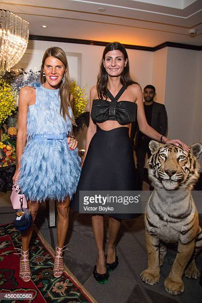 Anna Dello Russo and Giovanna Battaglia attend the Buro 24/7 Fashion Forward Initiative Presenting Natalia Alaverdian Founder and Creative Director...