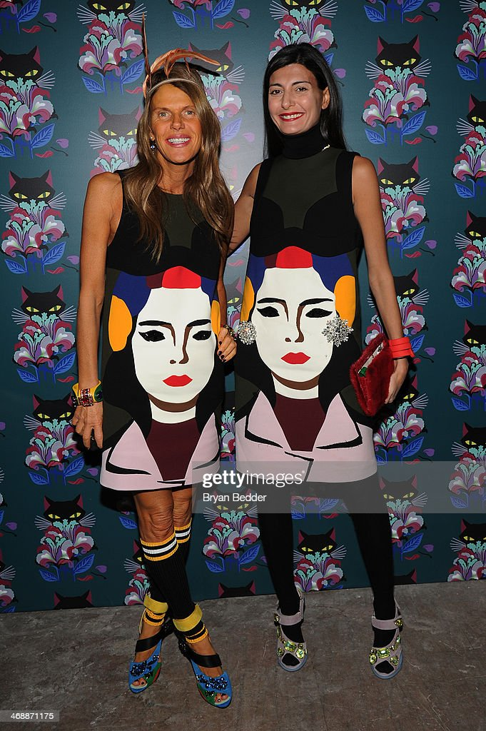 Anna dello Russo and Giovanna Battaglia wearing PRADA at Miu Miu Women's Tales 7th Edition - 'Spark & Light' Screening - Arrivals at Diamond Horseshoe on February 11, 2014 in New York City.